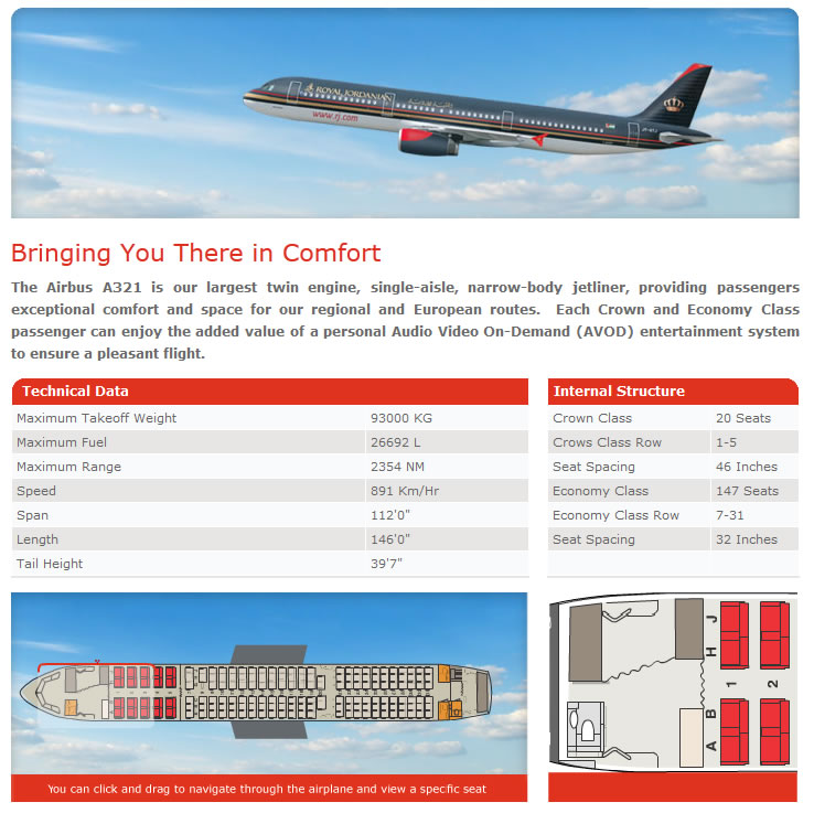 ROYAL JORDANIAN Airlines Aircraft Seatmaps - Airline Seating Maps