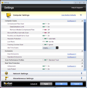 Norton settings