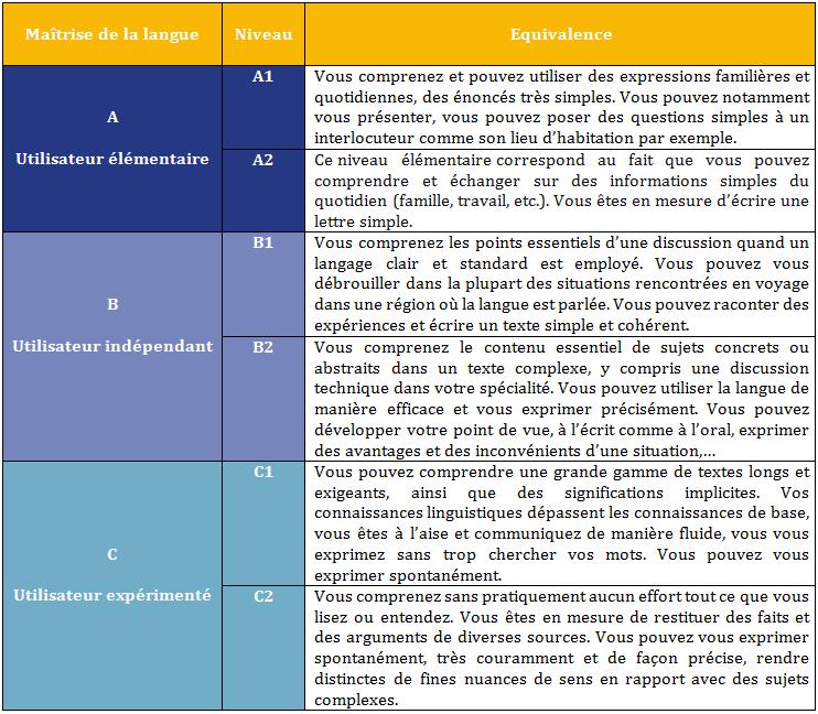 niveau de langue cv debutant interemediarie