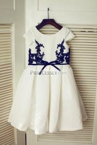 Cap Sleeves Navy Blue Lace Ivory Satin Flower Girl Dress ...