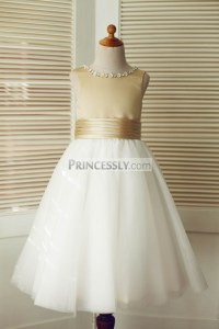 Champagne Satin Ivory Tulle Flower Girl Dress with Beaded ...
