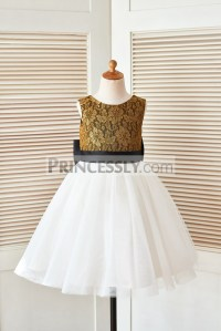 Gold Lace Ivory Tulle Flower Girl Dress with Black Belt ...