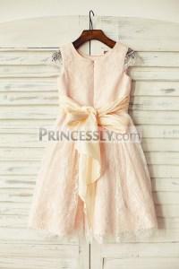 Blush Pink Satin Ivory Lace Cap Sleeves Flower Girl Dress ...