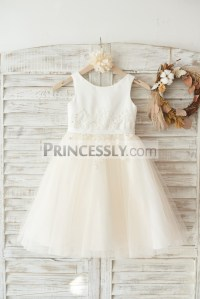 Ivory Satin Champagne Tulle Flower Girl Dress with Ivory ...