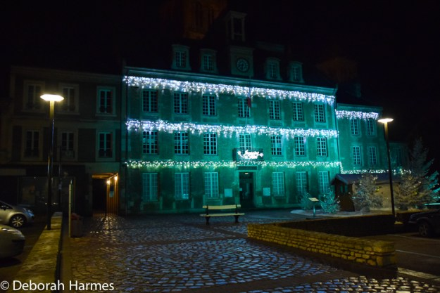 Christmas lights on the town hall in Saint-Pierre-sur-Dives.