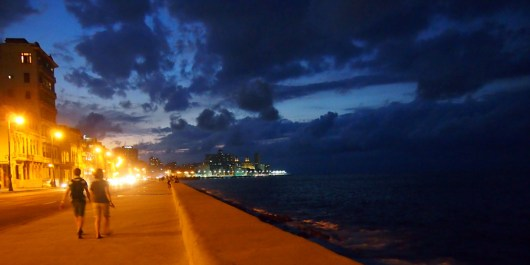 Walking the Malecon in Havana at night after dinner