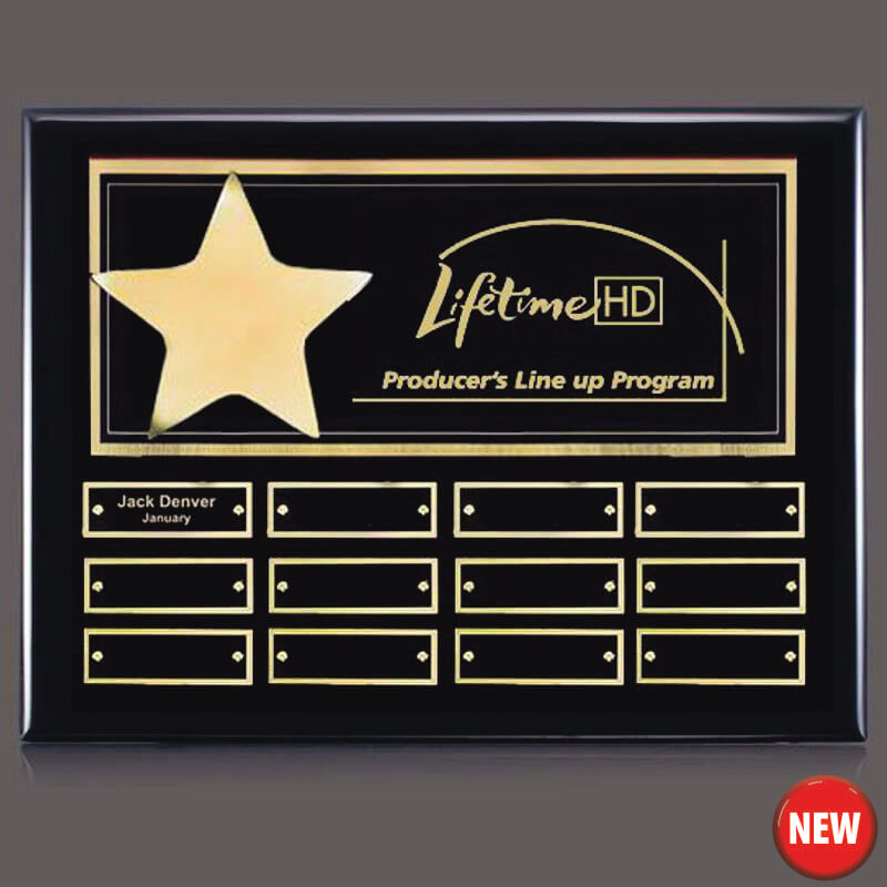 Gold Star 12 Plate Leadership Award Plaque - AwardMakers
