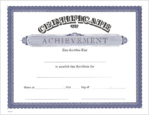 Achievement Certificate -- 149-91A Academic Awards