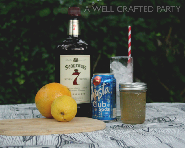 Ingredients for a Fruity Version of a Whiskey Collins