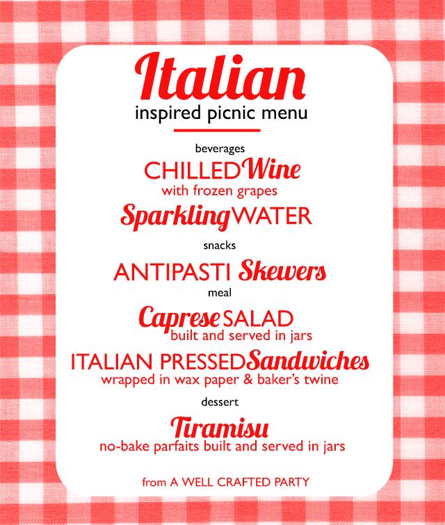 Picnic Week Italian Inspired Picnic Menu \u2013 A Well Crafted Party - italian menu