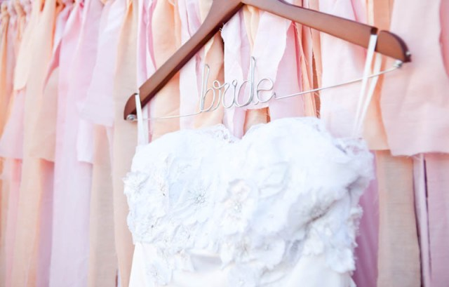 Wedding Dress Photo on top of cloth bunting backdrop