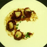Bacon Wrapped Scallops with a Fig Spread