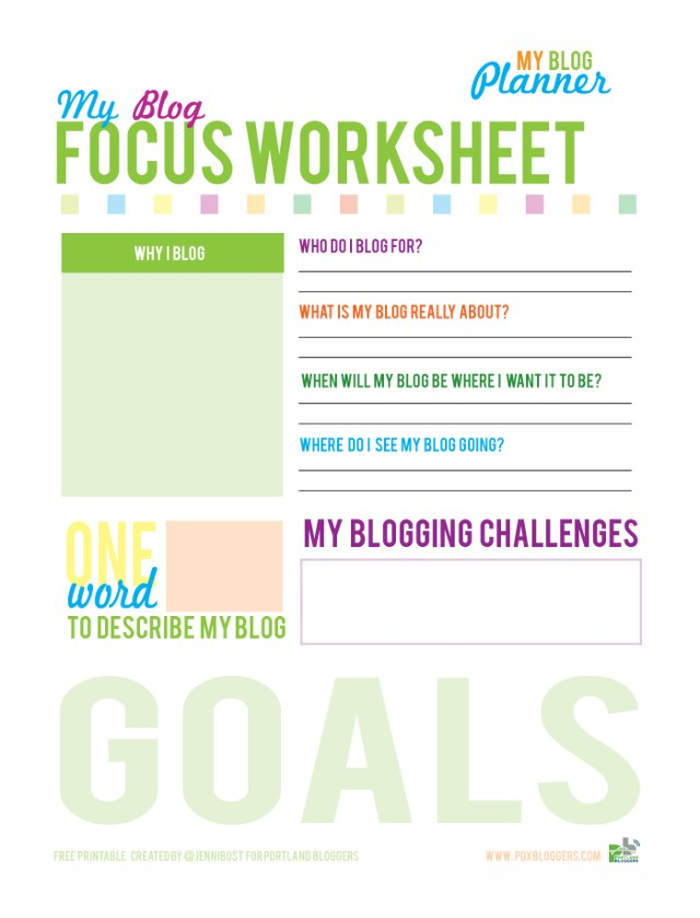 Free Printable Focus Worksheet