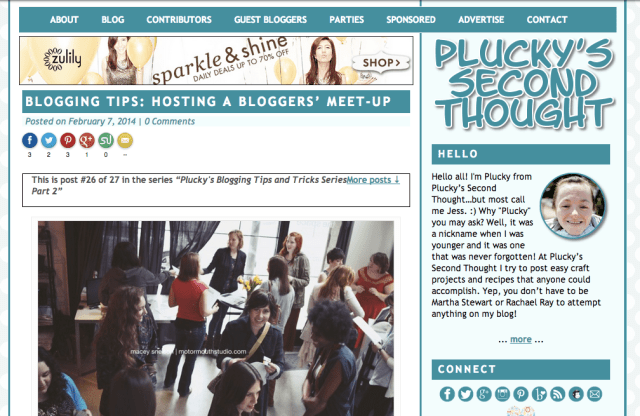 Guest posting on Plucky's Second Thought: How to Host a Blogger Meet-Up