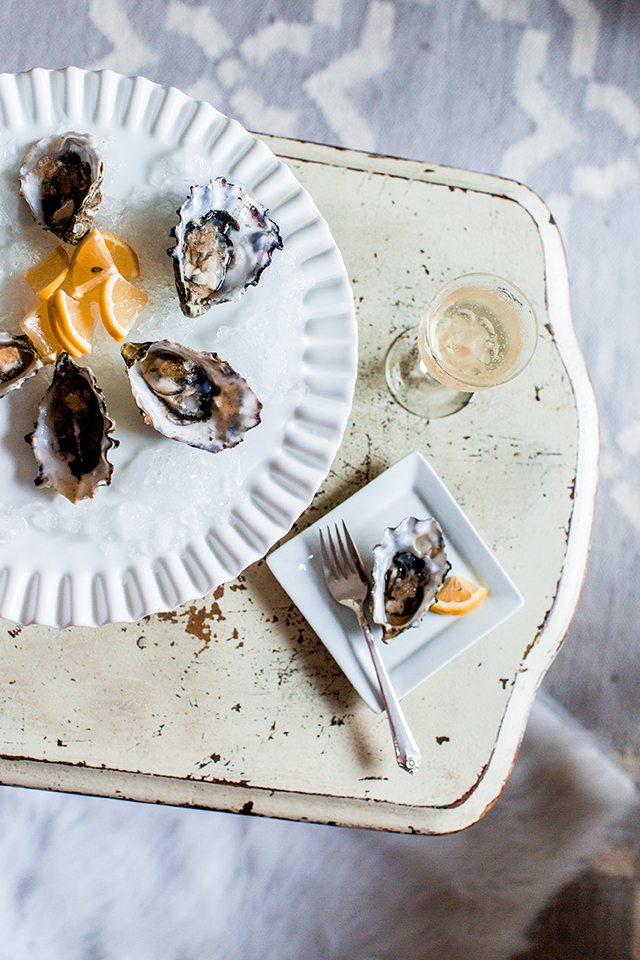 Tabasco Shaved Ice Topped Oysters // A Well Crafted Party images via Mary Boyden View More: http://maryboyden.pass.us/newyearseveparty