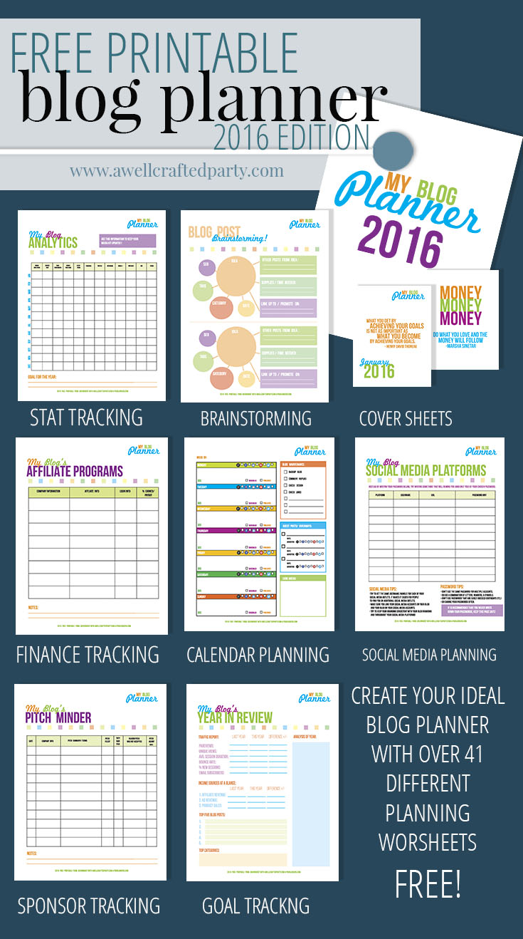 Free Printable Blog Planner from A Well Crafted Party