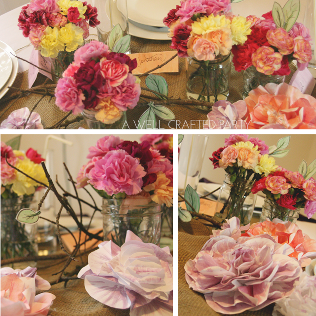 Mix up your Mother's Day Flower Arrangement by adding in some paper flowers and leaves with real, inexpensive blooms. - A Well Crafted Party