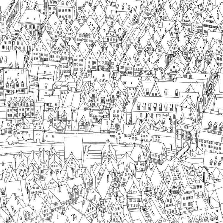 This coloring book takes you to fantastic cities both real and