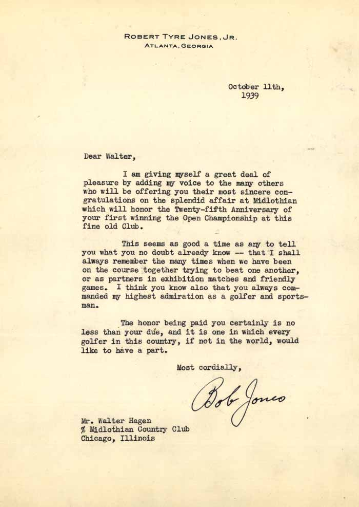 Letter From Bobby Jones - Admiration Letter