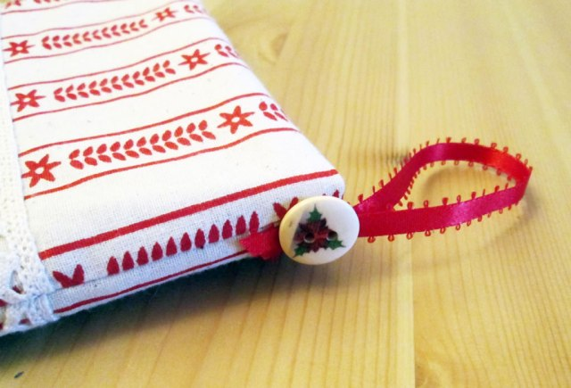 Christmas stocking with cuff tea and a sewing machine