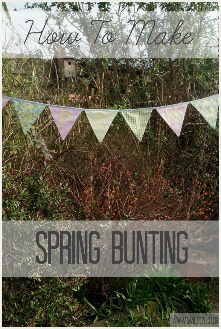 how to make spring bunting tea and a sewing machine. Black Bedroom Furniture Sets. Home Design Ideas