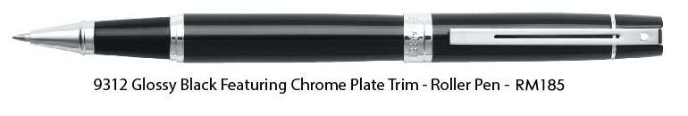 9312 - Glossy Black Featuring Chrome Plate Trim - Roller Pen