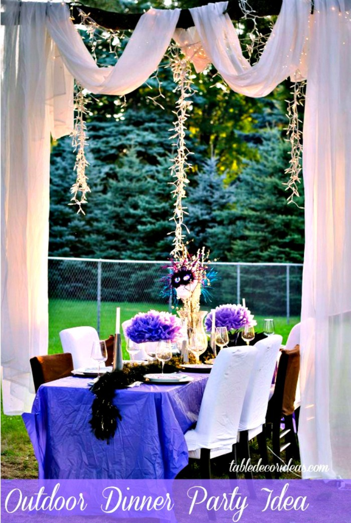 Elegant outside table decor idea dinner party for Outdoor dinner party decorating ideas