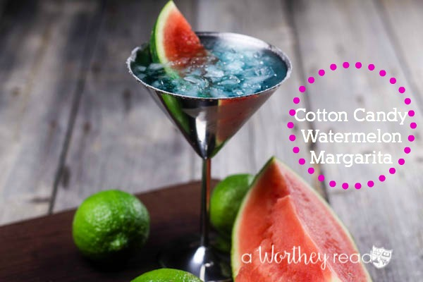 Cotton Candy Watermelon Margarita- Great for National Margarita Day or any day of the week. A delicious cocktail combining 1800 and Blue Faygo Pop!