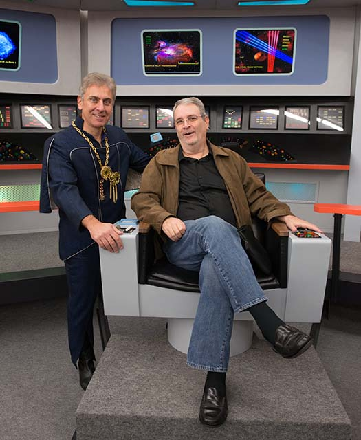 TICONDEROGA, NY.: NOVEMBER 3, 2015 -- Kelvar Garth (Alec Peters) and David Gerrold during the filming of Axanar vignettes at the Star Trek New Voyages Studio in Ticonderoga, New York, November 3, 2015. Photo for Axanar Productions by Garth Gullekson
