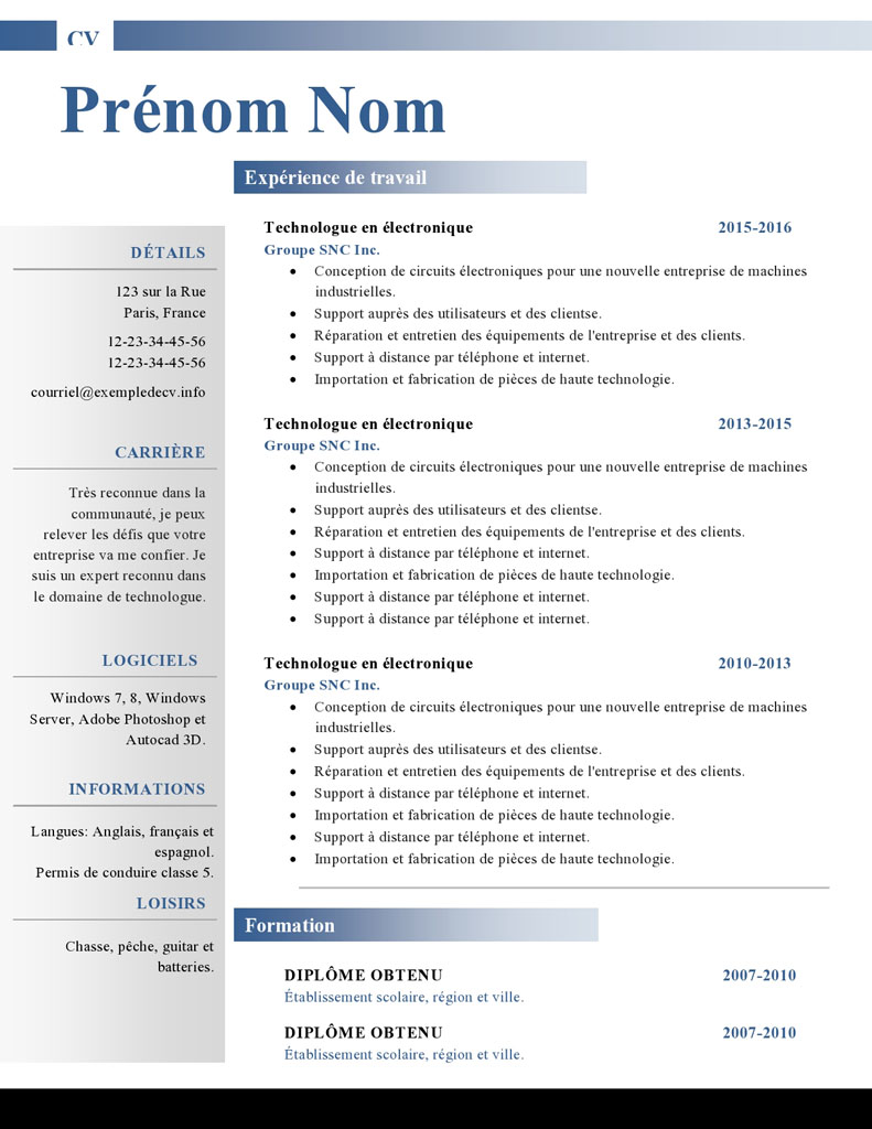 cv pole emploi a telecharger