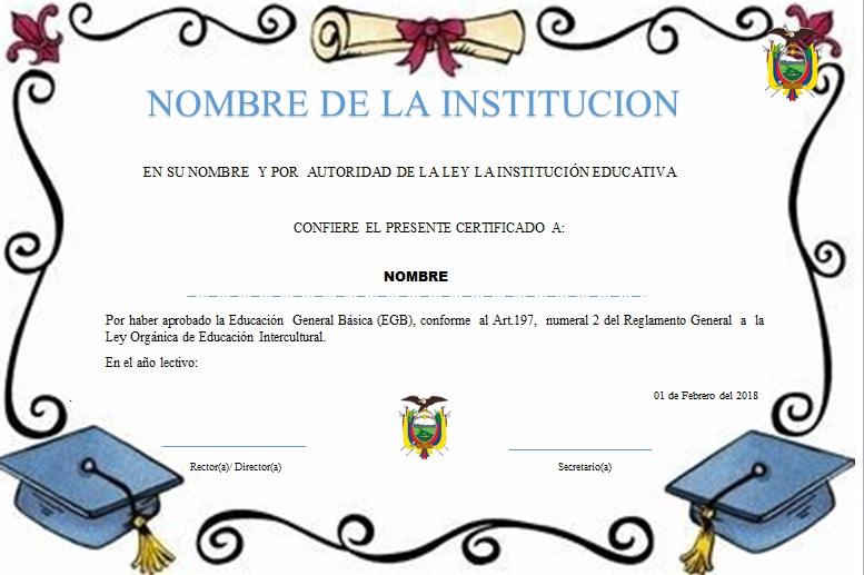 Plantillas de diplomas para terminación de primaria