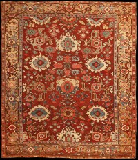 Antique Serapi carpet with an allover floral pattern