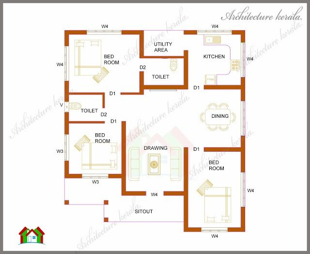 Luxury 2 Bedroom Kerala House Plans Free - New Home Plans Design
