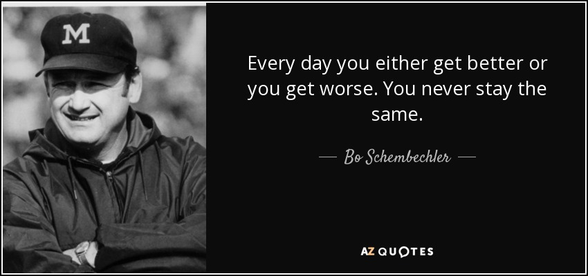 Football Coach Quote Wallpaper Bo Schembechler Quote Every Day You Either Get Better Or