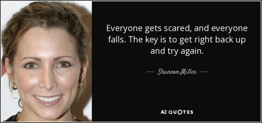 Everyone gets scared, and everyone falls. The key is to get right back up and try again. - Shannon Miller