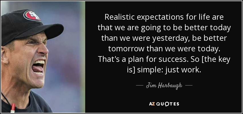 Football Motivational Quotes Wallpaper Jim Harbaugh Quote Realistic Expectations For Life Are