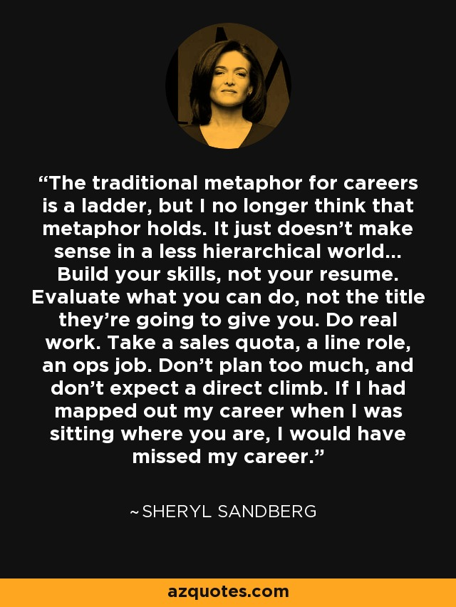 Sheryl Sandberg quote The traditional metaphor for careers is a