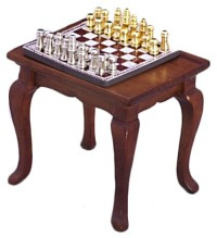 """Table & (magnetic) Chess Set 1"""" scale dollhouse T6471 ..."""