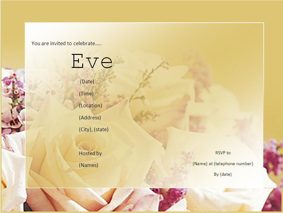 invitation template for word