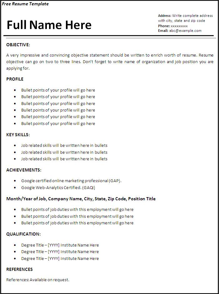 job resume templates - job resume