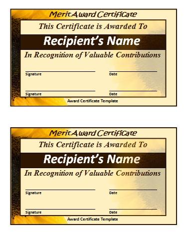 Merit Certificate Template Free Printable Word Templates,