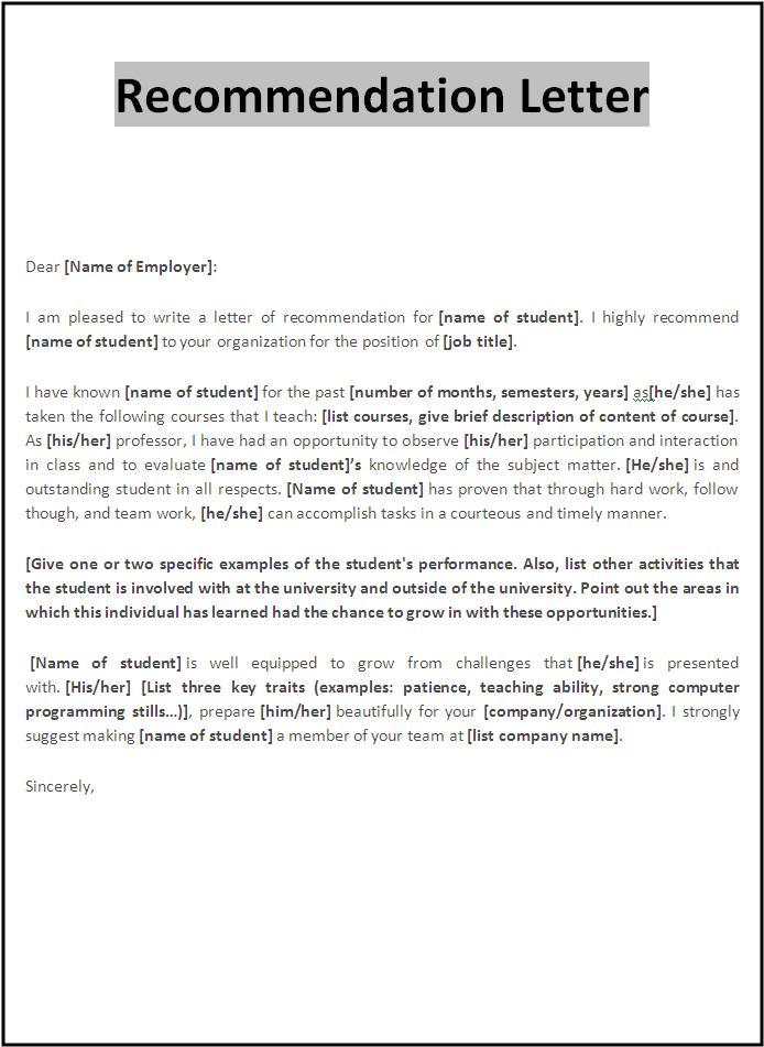Letter For Scholarship – Letter of Recommendation for Scholarship