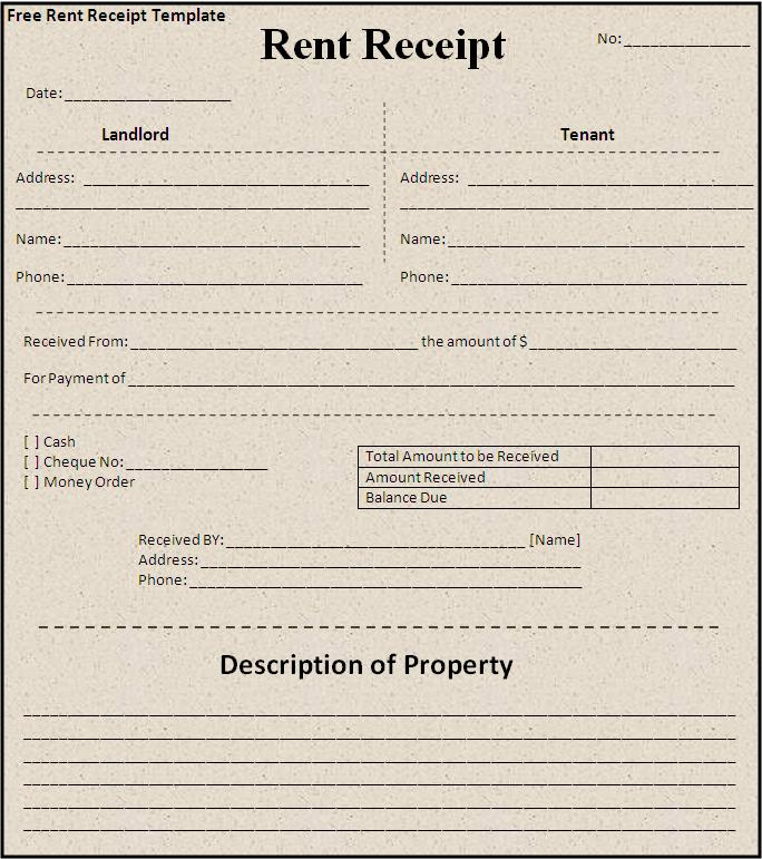 Rent Receipt Template Free Printable Word Templates, - apartment rent receipt
