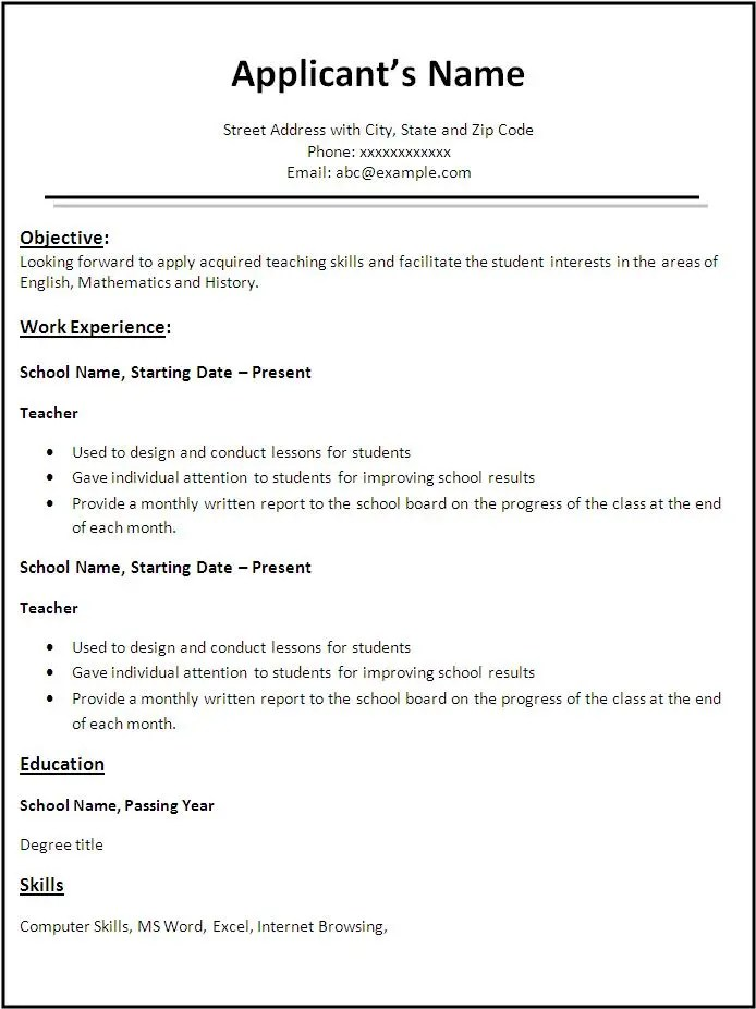 professional resume format examples sample of resume writing download resume format cv templates free word downloads - Free Download Resume Format
