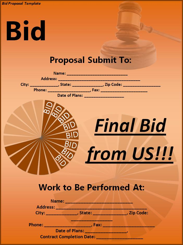 Bid Proposal Template Free Printable Word Templates, - Bidding Proposal Template
