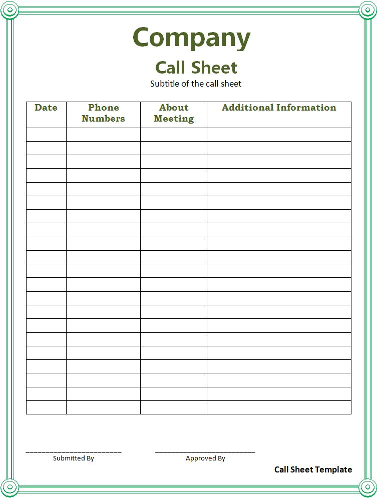 call sheet template printable - sign in sheet forms