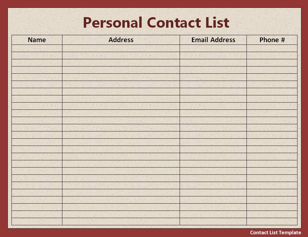 word contact list template – Christmas List Format