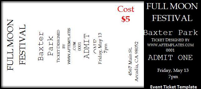 Microsoft Word Event Ticket - microsoft ticket template