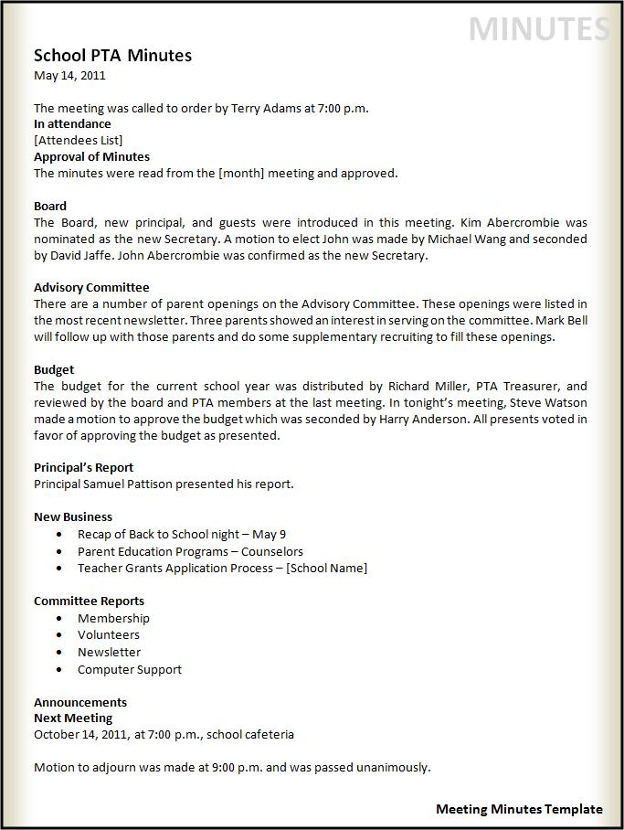 corporate minutes template word - Onwebioinnovate - business meeting template microsoft word