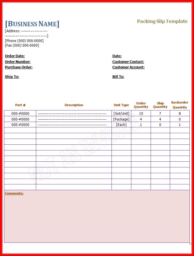 Bill Of Lading Form Template Free – Packing Slip Form
